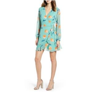 All In Favor | Brittany Wrap Minidress Sage Tulip